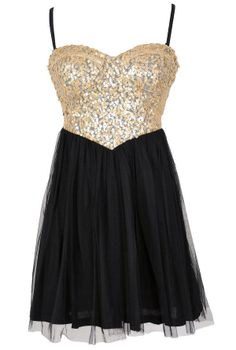 Cleopatras Treasure Sequin and Tulle Cutout Party Dress  www.lilyboutique.com