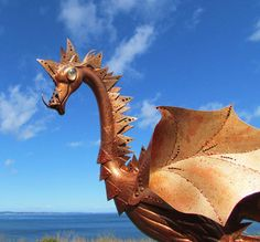 Copper Dragon  handmade garden art sculpture created by CedarMoon, $70.00