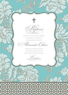 Pale Blue Brocade Invitation