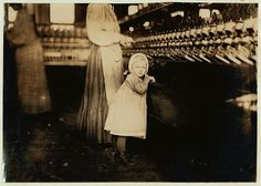 Ivey Mill, Hickory, N.C. Little one, 3 years old, who visits and plays in the mill. Daughter of the overseer. Location: Hickory, North Carolina. This photo series, archived by the Library of Congress, shows what conditions were like for child laborers before child labor was largely eliminated in 1938.