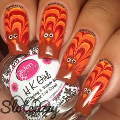 thanksgiving turkey, halloweenthanksgiv nail, watermarbl turkey, water marbl, marbles, turkey nail, nail nailart, nail art, thanksgiving nails
