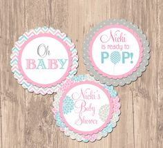 Ready to Pop Balloon Baby Shower Cupcake Toppers- Printable via Etsy