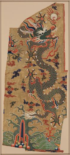 Panel with Dragon  Period: Ming dynasty (1368–1644)  Date: 17th century Culture: China  Medium: Silk, feather, and metallic thread embroidery on silk gauze  Dimensions: 21 1/8 x 46 in. (53.7 x 116.8 cm)  Classification: Textiles-Embroidered  Accession Number: 1972.36  The dragon scales use thread made from peacock feathers wrapped around a silk core.