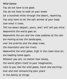 Mary Oliver. The first poem of hers that I read.