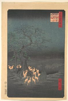 Foxes Meeting at Oji  Andô Hiroshige  (Japanese, 1797–1858)  Period: Edo period (1615–1868) Date: 1857 Culture: Japan Medium: Polychrome woodblock print; ink and color on paper