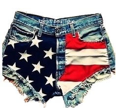 High Waisted Vintage American Flag Shorts on Etsy, $45.00