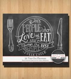 """25 Tear-Out """"Cooking is Like Love"""" Chalk Art Placemats #luvocracy #placemat #graphicdesign"""