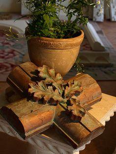 copper oak leaf cross