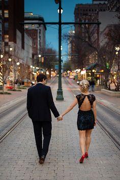 Downtown Memphis Engagement. Memphis Engagement Photo Location Ideas - http://www.midsouthbride.com/memphis-engagement-photo-ideas/