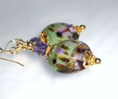 Purple and Green Short Lampwork Earrings from H&H Jewelry Designs on Ruby Lane