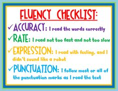 Fluency checklists- for students to self-assess! This teacher has them at the fluency center in her classroom