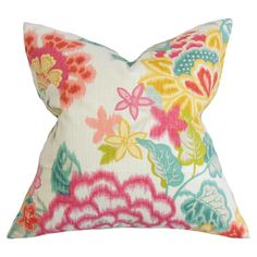 A perfect pop of color for your sofa or accent chair, this cotton pillow showcases a charming floral motif and feather-down fill. Made in the USA. ...