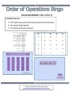 Common Core 5.OA.1 and 6.EE.2c  Included in this set:  30 unique bingo cards  25 question cards with answers  PPT slide show that can be used with any interactive whiteboard  (Available from Teachers Pay Teachers)
