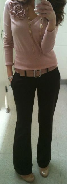 Fall Work Outfit With Plain Sweater Shirt and Pant