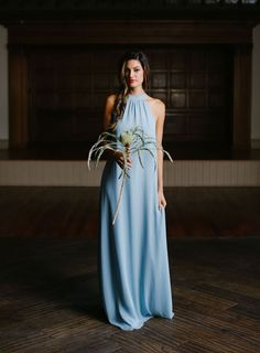Flowy pale blue bridesmaid dress by Joanna August