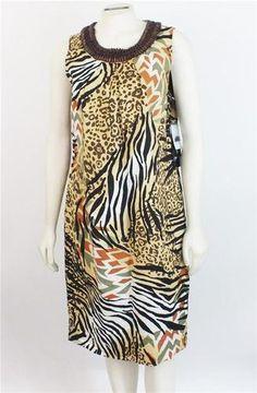 Peter Nygard Animal Print Dress Linen Blend Beaded Sleeveless Size 12 New
