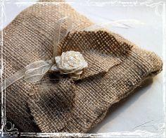 Burlap Ring Bearer Pillow - Rustic Country Charm