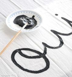 DIY Brushed Text and Polka Dot Tea Towels
