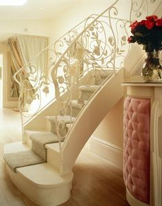 staircase & tufted furniture!~