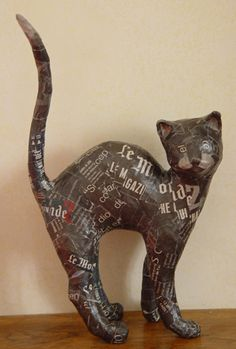 paper mache kitty cat - really cute paper mache Scotties pictured here :)