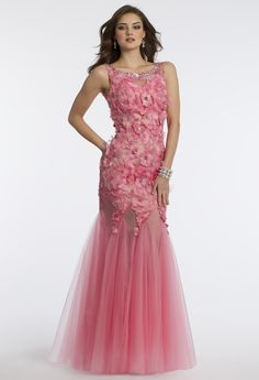 Camille La Vie Tulle and 3-D Flower Dress with Open Back for Prom in Pink