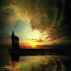 Sunset on the Lake  twilight photo Europe by GoldenSection on Etsy,