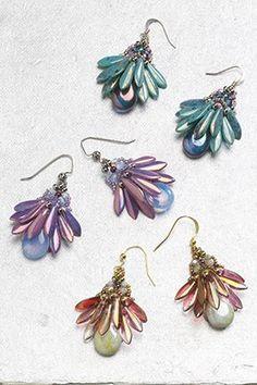 Fan Flower Earrings by TrendSetter Penny Dixon appear in Beadwork, October/November 2014
