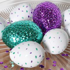 Sequined Easter Egg Centerpiece with painted speckled eggs for filler {The Love Nerds} #easterdecor #eastereggs #sequincraft #paintcraft