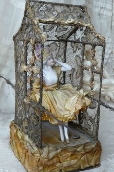 Antique Boudoir Doll Half Doll Candy Box Fashion Doll Lace C 1920