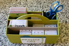 The way Erin Rollins organizes her Project Life supplies. Tote from Target.