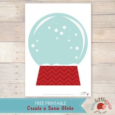 Create a Snow Globe -- free printable by Busy Little Bugs { kids can draw their own picture inside the snow globe or laminate it and use it for a Playdough mat }