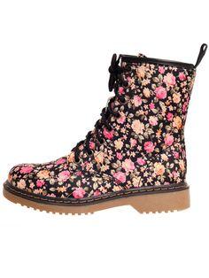 Floral Combat Boot