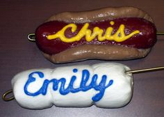 World's cutest marshmallow or hot dog roasting sticks for the campfire.  I saw this in Family Fun magazine years ago and this looks a lot like what I remember.  I'm going to use Sculpey clay instead of salt dough because it is already colored.  So cute!