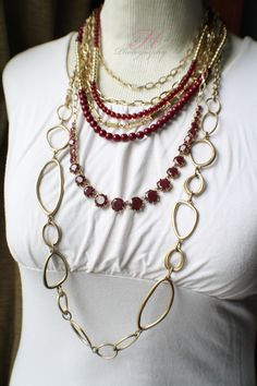 Work It Necklace and Indulgence Necklace worn long! necklac worn