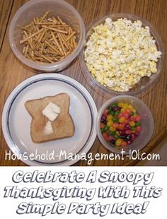 Simple party idea for kids inspired by A Charlie Brown Thanksgiving! Enjoy the same food Snoopy made for their Thanksgiving feast while watching this classic with your kids {on Household Management 101}