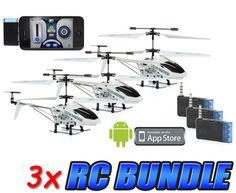 iFly Heli 3.5CH RC Helicopter 3-Pack Bundle (Controlled by iPhone and Android)