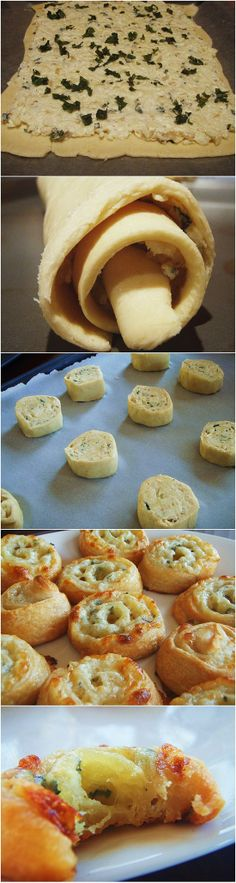 Three Cheese Pinwheels With Crescent Rolls