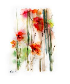 Original Watercolor Painting Fine Art Print. Abstract Floral Painting. Flower Painting. Orange Red.
