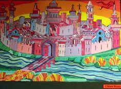 """Borgo Cavour"", by Paolo Cendron a student of Prof. Fabio Sandrini at L. Coletti Middle School in Treviso, one of 95 communities in the Sister City twinning with Sarasota and Treviso Province in Italy. The art was displayed at the Hands of Heritage Fest at Robarts Arena in Sarasota in 2003"
