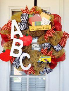 Handmade Burlap Teacher Wreath by SouthernWhimsyChic on Etsy, $65.00
