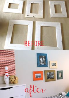 Make your walls happy with custom photo frames that match the decor in your room!  Most people don't know that @Cabot Woodcare offers beautiful, custom color options that go way beyond your normal wood finish tones.  Check out how you can create a custom photo collage using mod colors for any room in the house! #sponsored