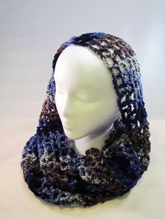 Infinity Scarf in Blue and Brown by CraftyRidge on Etsy