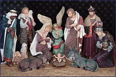 50in 11-pc. Beautifully Hand-painted Resin Nativity Set. Ideal for Church, Chapel or School use.