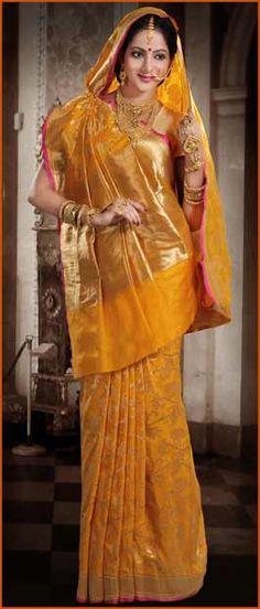 Light #Orange Pure #Banarasi #Silk #Saree with #Blouse @ $260.36 | Shop Here: http://www.utsavfashion.com/store/sarees-large.aspx?icode=snn37