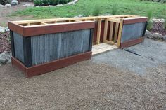 Corrugated metal siding on outdoor kitchen