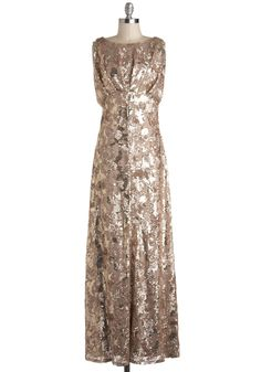 The Sounds of Soul Dress - Gold, Solid, Sequins, Ruching, Formal, Maxi, Sleeveless, Wedding, Luxe, Statement