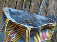 French Ticking Tote by Lambert on Etsy,