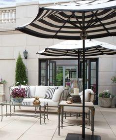 black and white striped patio umbrella