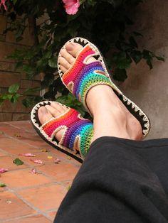 Rainbow Crocheted SANDALS w/ black suede - boho hippie shoes - CUSTOM MADE. $62.00, via Etsy.