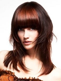 Straight bangs on red hair
